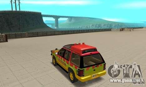 Ford Explorer (Jurassic Park) für GTA San Andreas zurück linke Ansicht