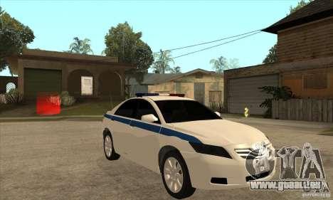 Toyota Camry 2010 SE Police RUS für GTA San Andreas Rückansicht