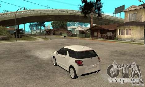 Citroen DS3 2010 pour GTA San Andreas sur la vue arrière gauche