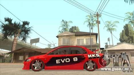 Mitsubishi Evo 8 Tuned pour GTA San Andreas laissé vue