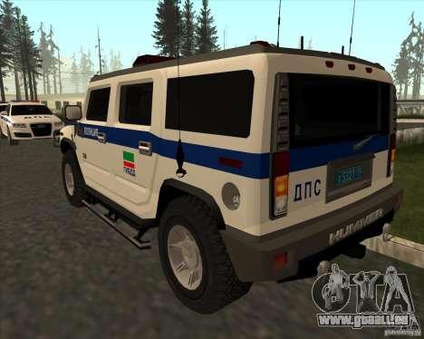 Hummer H2 DPS pour GTA San Andreas sur la vue arrière gauche