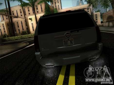 Cadillac Escalade ESV Platinum für GTA San Andreas zurück linke Ansicht