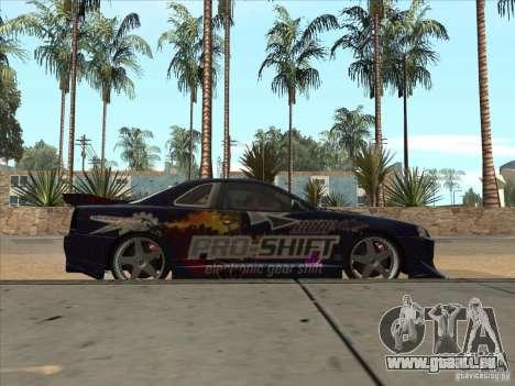 Nissan Skyline R34 VeilSide pour GTA San Andreas vue intérieure