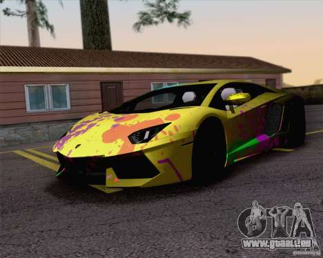 Travaux de peinture Lamborghini Aventador LP700- pour GTA San Andreas sur la vue arrière gauche