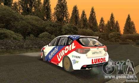 Subaru Impreza WRX STi Russia Rally pour GTA San Andreas sur la vue arrière gauche