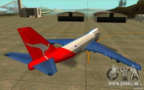 Boeing Qantas 747-400 für GTA San Andreas zurück linke Ansicht