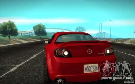 Mazda RX-8 R3 2011 pour GTA San Andreas sur la vue arrière gauche