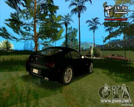 BMW Z4 M Coupe pour GTA San Andreas sur la vue arrière gauche