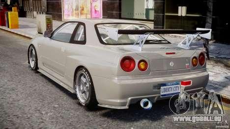 Nissan Skyline R34 Nismo pour GTA 4 Vue arrière de la gauche