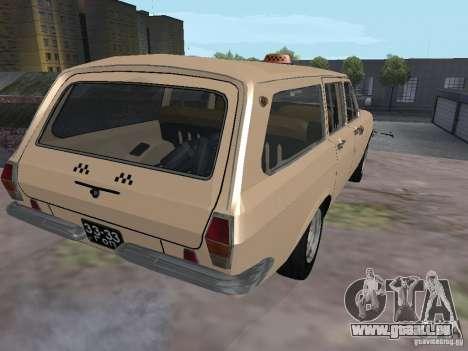 Volga GAZ-24 Taxi 02 pour GTA San Andreas sur la vue arrière gauche