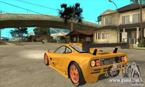 McLAREN F1 GTR GULF 1996 für GTA San Andreas zurück linke Ansicht
