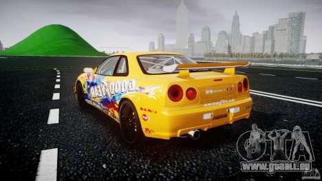 Nissan Skyline R34 GT-R Tezuka Goodyear D1 Drift für GTA 4 hinten links Ansicht