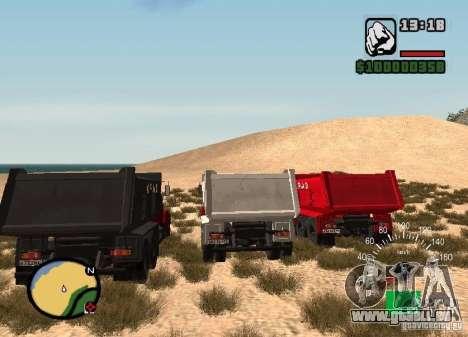 Camion KrAZ 65055 pour GTA San Andreas sur la vue arrière gauche