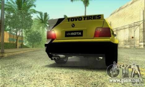 BMW E36 Urban Perfomance Garage pour GTA San Andreas sur la vue arrière gauche