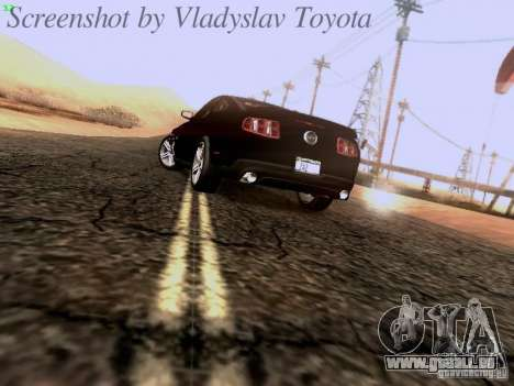 Ford Mustang GT 2011 Unmarked pour GTA San Andreas sur la vue arrière gauche
