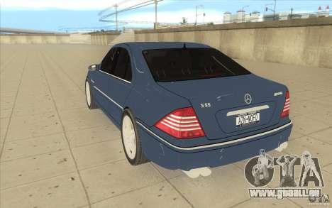 Mercedes-Benz S-Klasse pour GTA San Andreas sur la vue arrière gauche