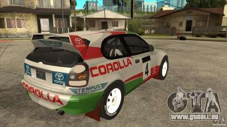 Toyota Corolla 1999 Rally Champion für GTA San Andreas Innenansicht