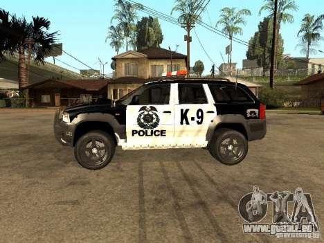Jeep Grand Cherokee police K-9 pour GTA San Andreas laissé vue