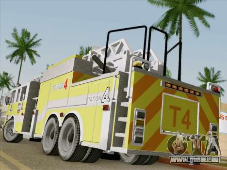 Pierce Arrow XT BCFD Tower Ladder 4 für GTA San Andreas zurück linke Ansicht
