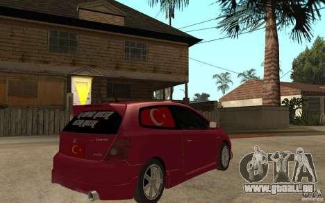 Honda Civic Type R pour GTA San Andreas vue de droite