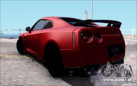 Nissan GTR 2011 Egoist (version avec la saleté) pour GTA San Andreas laissé vue