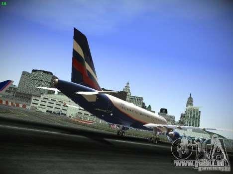 Aeroflot Russian Airlines Airbus A320 für GTA San Andreas Rückansicht
