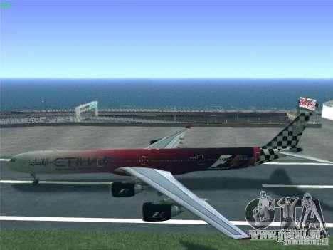 Airbus A340-600 Etihad Airways F1 Livrey für GTA San Andreas rechten Ansicht