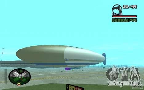 Grand dirigeable pour GTA San Andreas sur la vue arrière gauche