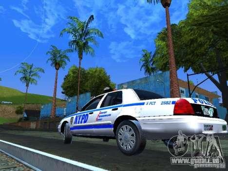 Ford Crown Victoria 2009 New York Police pour GTA San Andreas vue de droite