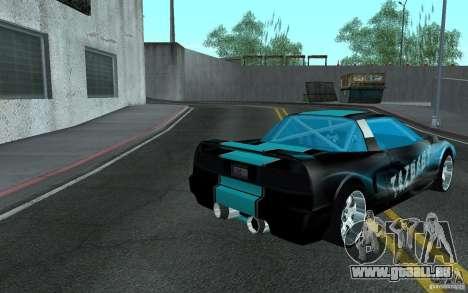 Baby blue Infernus pour GTA San Andreas sur la vue arrière gauche