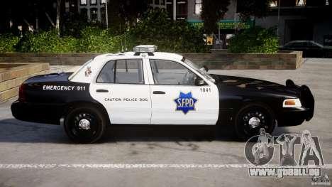 Ford Crown Victoria SFPD K9 Unit [ELS] pour GTA 4 est une gauche
