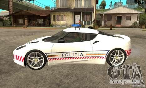 Lotus Evora S Romanian Police Car für GTA San Andreas linke Ansicht