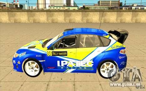 Subaru Impreza WRX STi avec unique nouveau vinyl pour GTA San Andreas vue de dessus