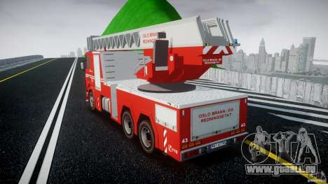 Scania Fire Ladder v1.1 Emerglights blue [ELS] pour GTA 4 Vue arrière de la gauche