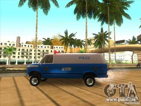 Chevrolet Van G20 BLUE NYPD 1990 für GTA San Andreas linke Ansicht