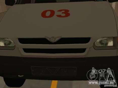 UAZ Simba SC ambulance pour GTA San Andreas vue intérieure