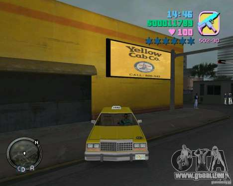 Ford Crown Victoria LTD 1985 Taxi für GTA Vice City Innenansicht