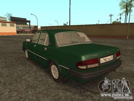 GAZ 3110 c. 2 pour GTA San Andreas sur la vue arrière gauche