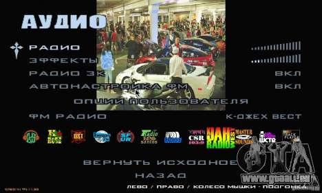 Rapide et le furieux menu 3 pour GTA San Andreas cinquième écran