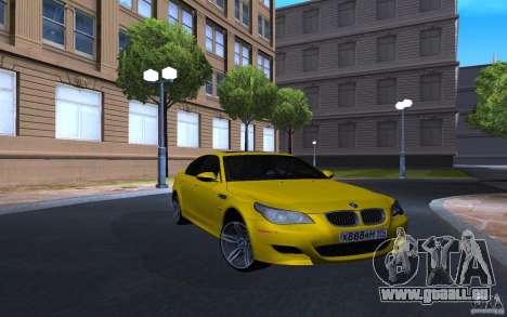 BMW M5 Gold Edition pour GTA San Andreas sur la vue arrière gauche