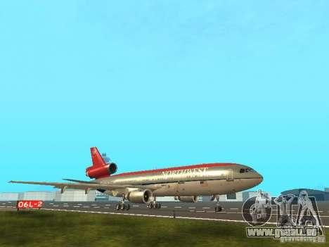 McDonell Douglas DC 10 Nortwest Airlines pour GTA San Andreas sur la vue arrière gauche