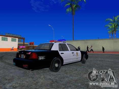 Ford Crown Victoria San Andreas State Patrol pour GTA San Andreas vue de droite