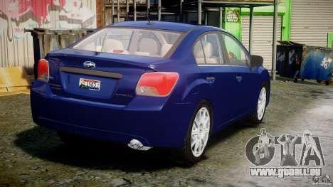 Subaru Impreza Sedan 2012 pour GTA 4 est un côté