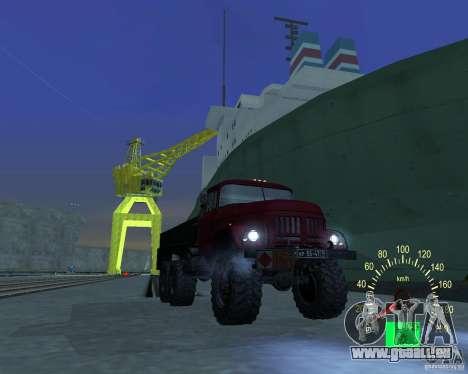ZIL 131 pétrolier pour GTA San Andreas vue intérieure
