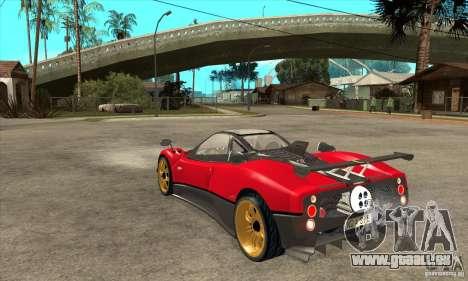 Pagani Zonda Tricolore V1 pour GTA San Andreas sur la vue arrière gauche