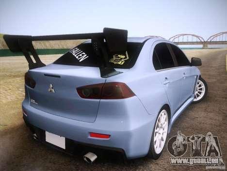 Mitsubishi Lancer Evolution Drift Edition für GTA San Andreas zurück linke Ansicht
