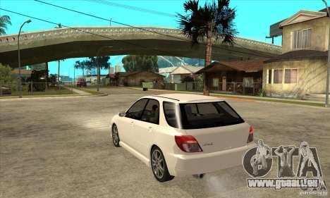 Subaru Impreza WRX Wagon 2002 pour GTA San Andreas sur la vue arrière gauche