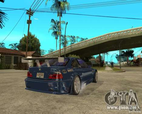 BMW M3 GTR von Need for Speed Most Wanted für GTA San Andreas zurück linke Ansicht