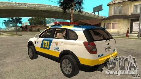 Chevrolet Captiva Police für GTA San Andreas zurück linke Ansicht