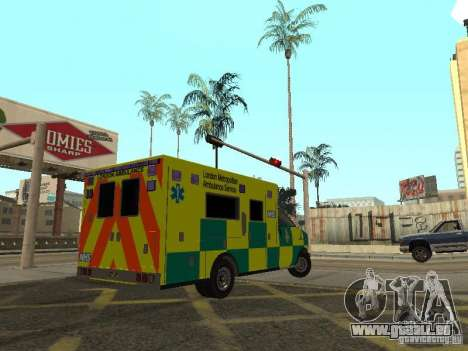 London Ambulance für GTA San Andreas zurück linke Ansicht